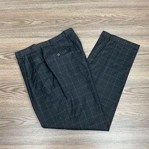 Berle Charcoal Windowpane Flannel Wool Pants 36